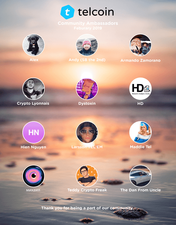 Telcoin February 2019 Ambassadors